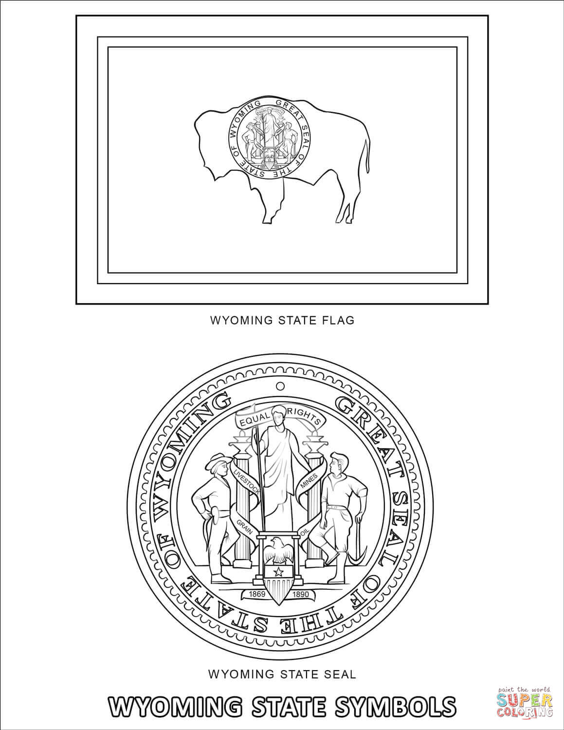 Wyoming State Symbols Coloring Page