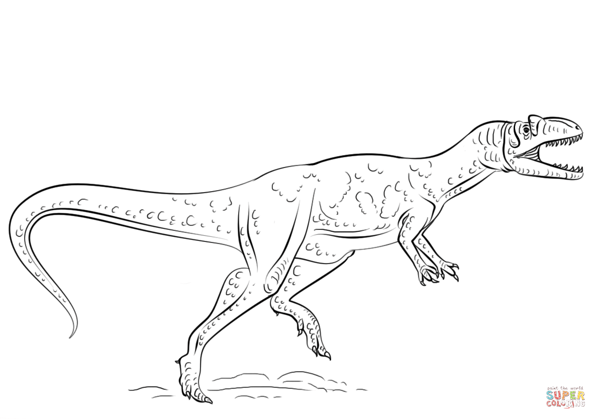 Free Coloring Pages Download Allosaurus Dinosaur Page Printable Of