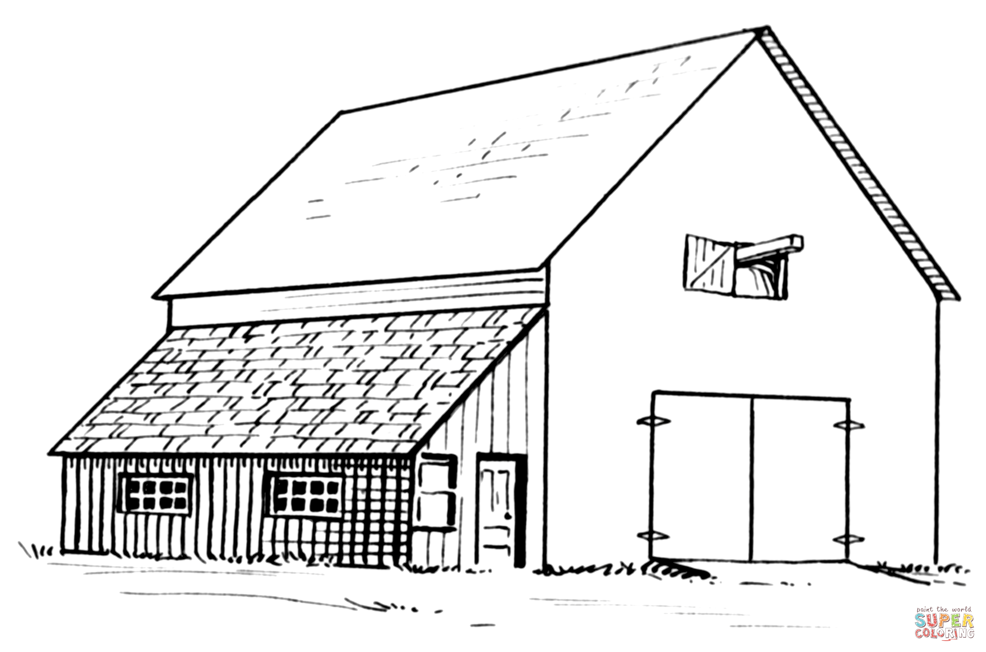 Barn And Lean To Coloring Page