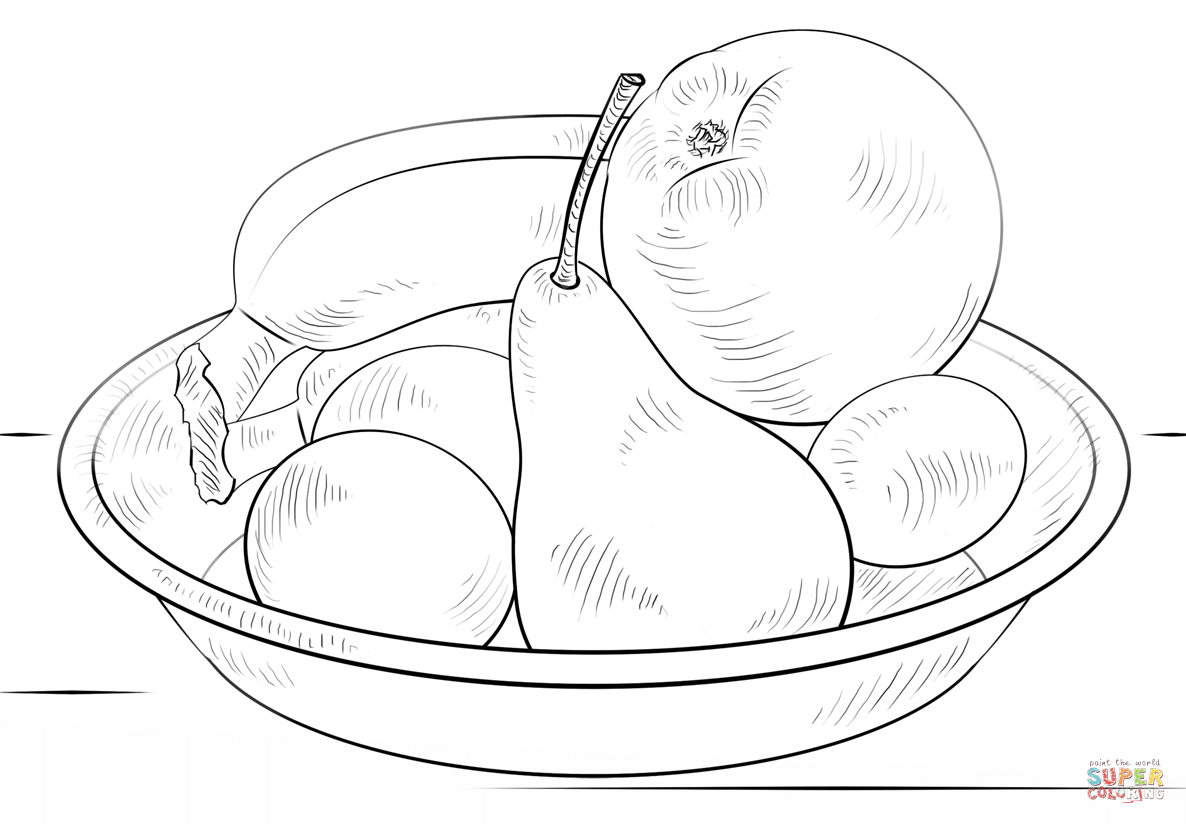 Bowl Of Fruits Coloring Page