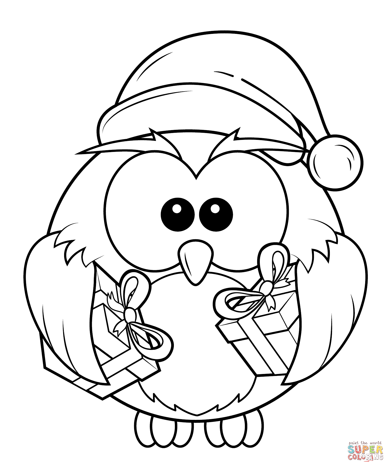 Christmas Owl With T Boxes Coloring Page