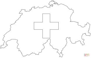 Ausmalbild Flaggen Karte der Schweiz   Ausmalbilder ...