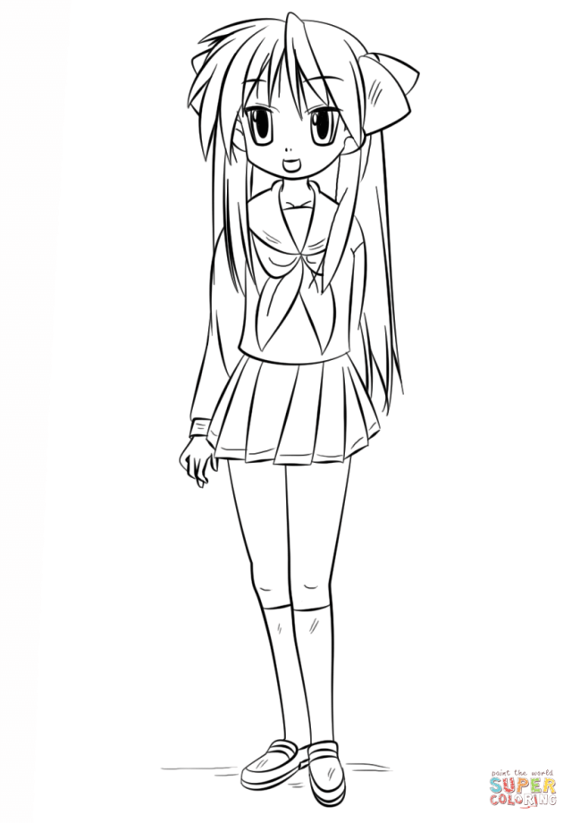 Kagami Hiiragi coloring page  Free Printable Coloring Pages