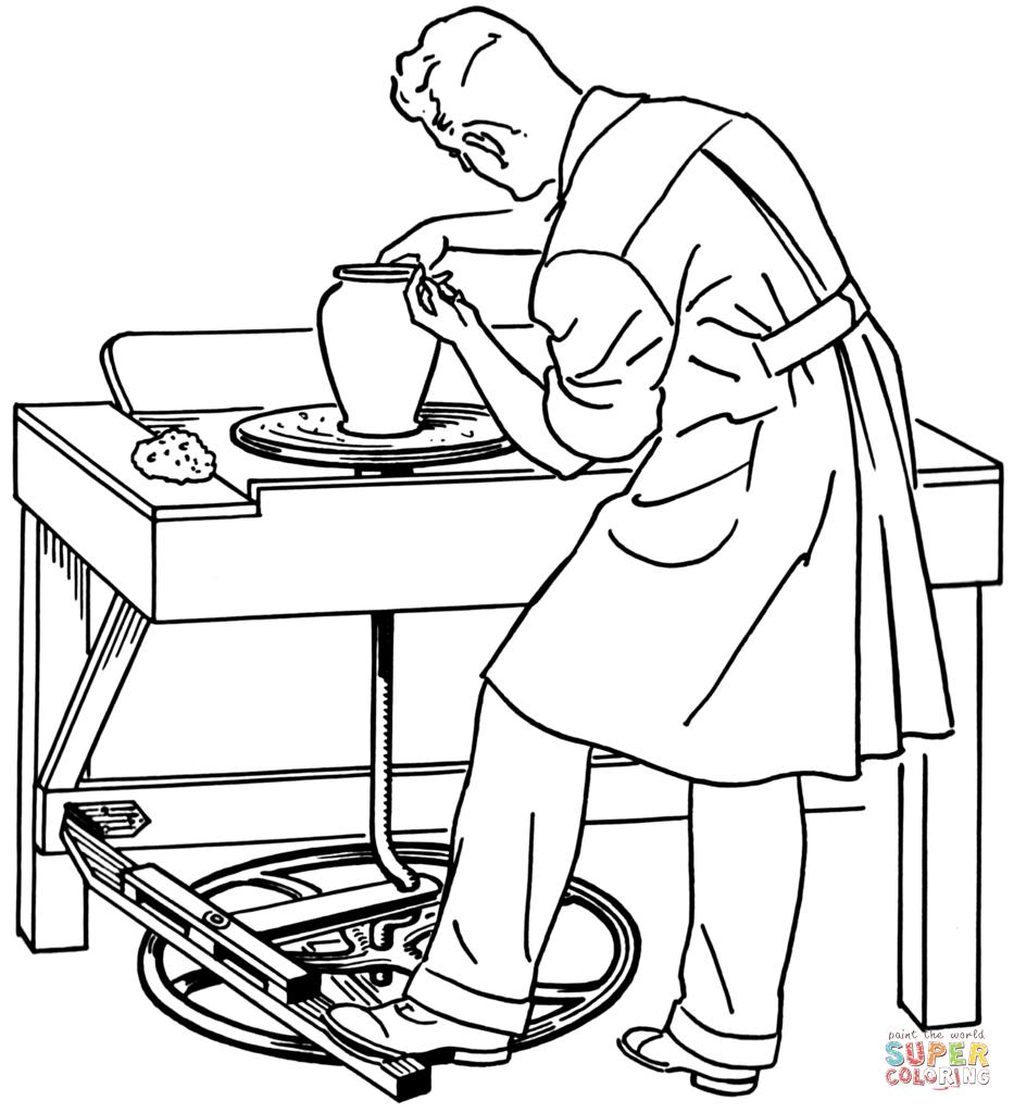 Dibujo de Hombre Trabajando en el Torno de Cerámica para