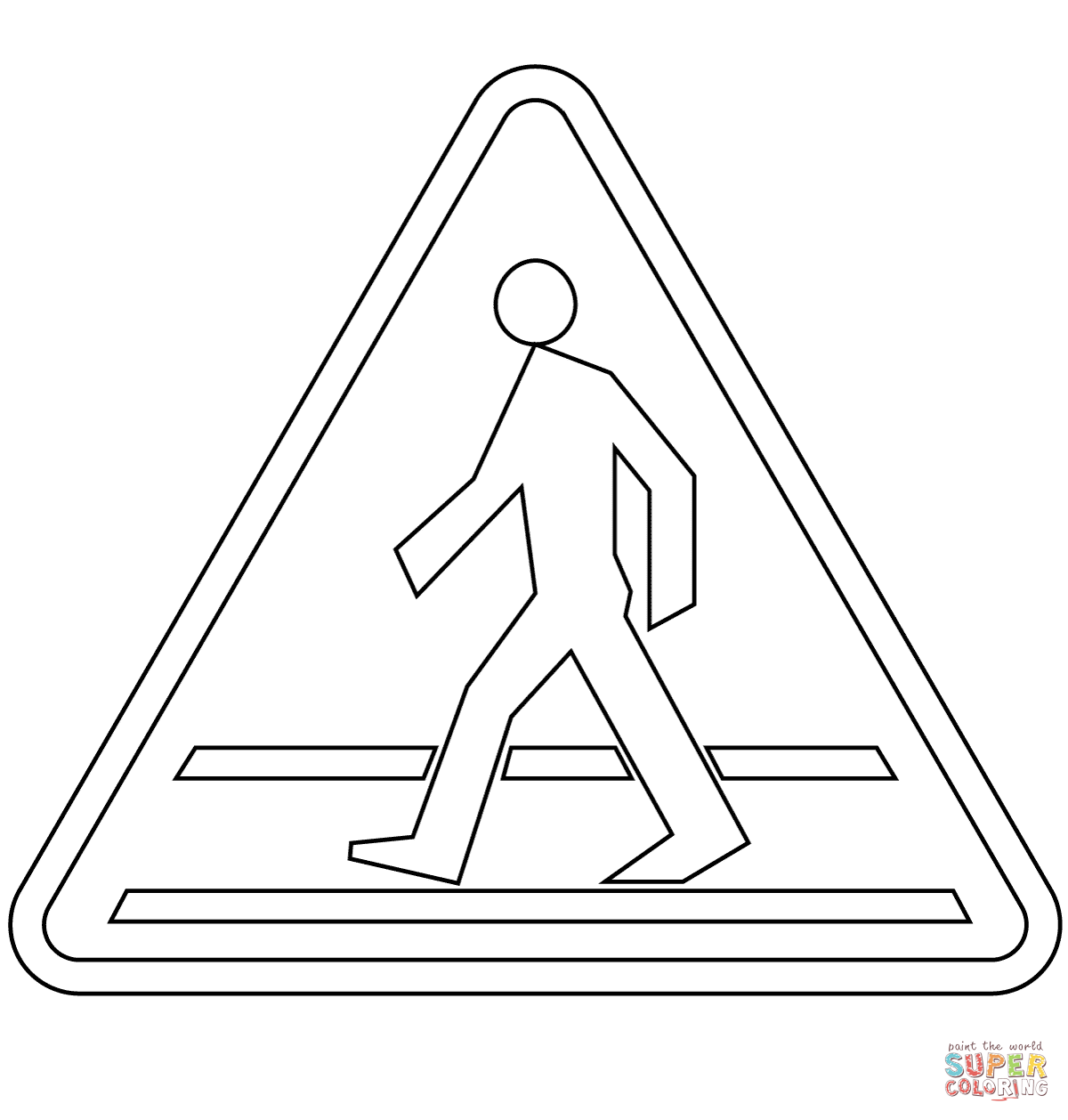 Pedestrian Crossing Ahead A 16 Coloring Page