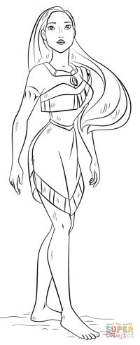Dibujo de Pocahontas para colorear   Dibujos para colorear ...