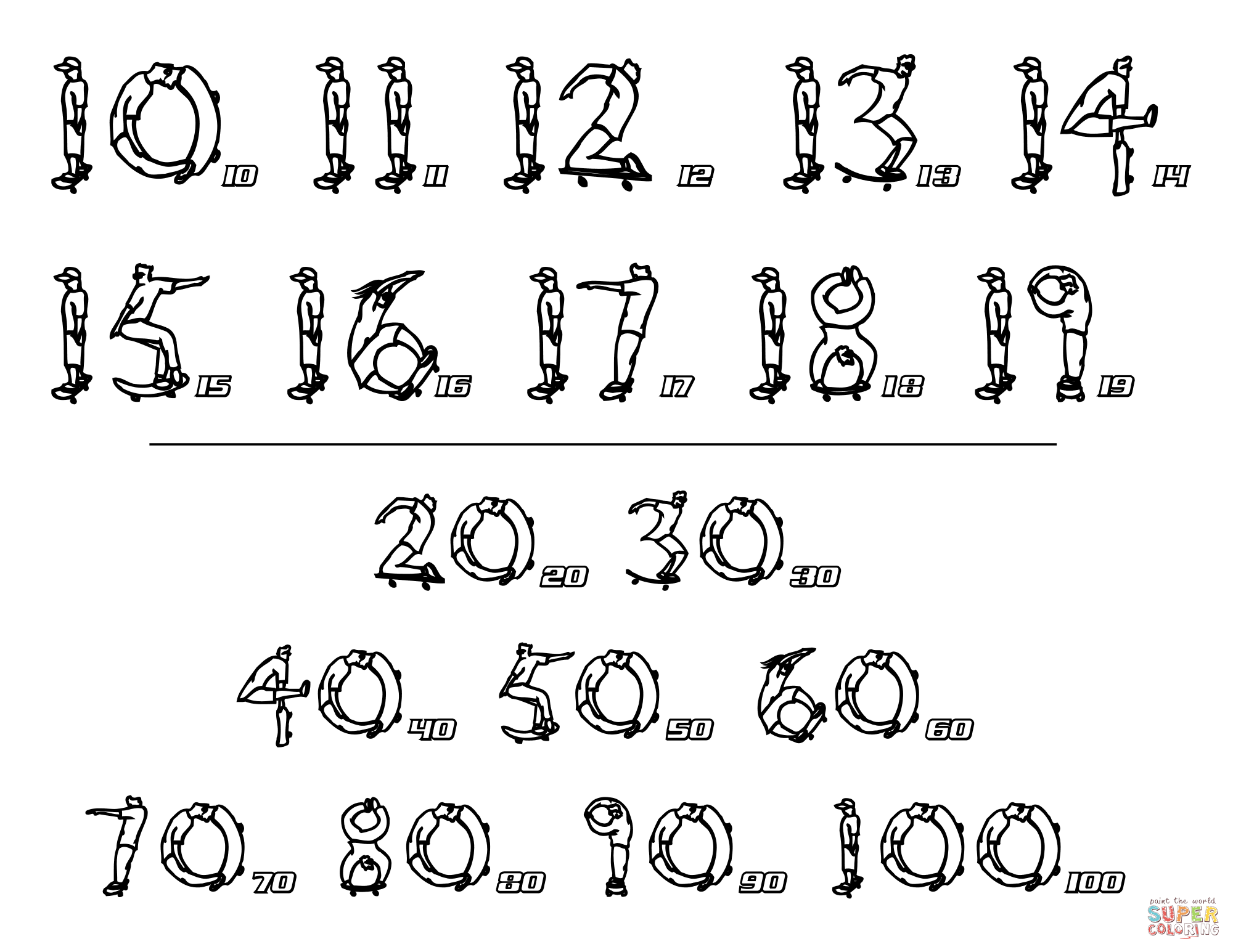 Skateboard Numbers Chart 2 Coloring Page