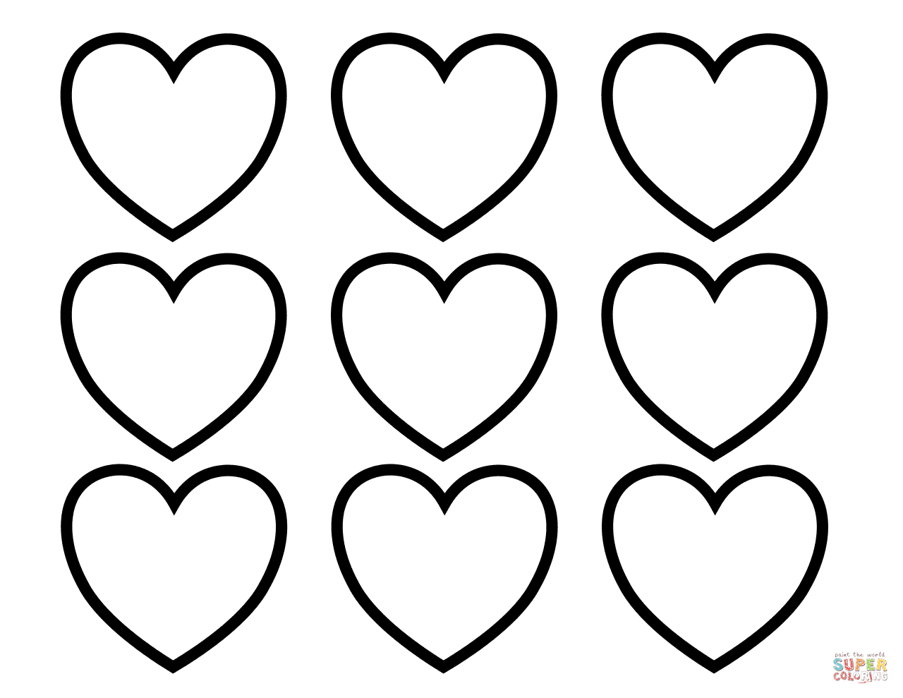 Valentines Day Blank Hearts Coloring Page