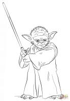 Ausmalbild Yoda mit Lichtschwert   Ausmalbilder kostenlos ...