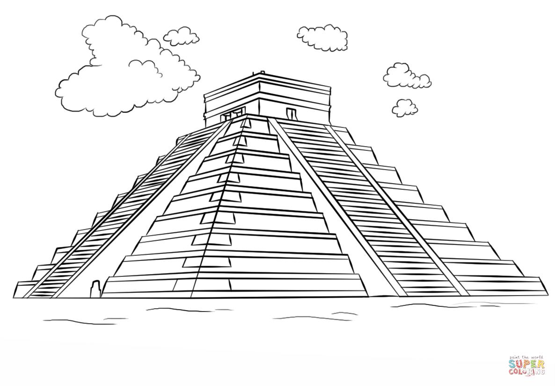 Ausmalbild Maya-Pyramide - Chichén Itzá Ausmalbilder