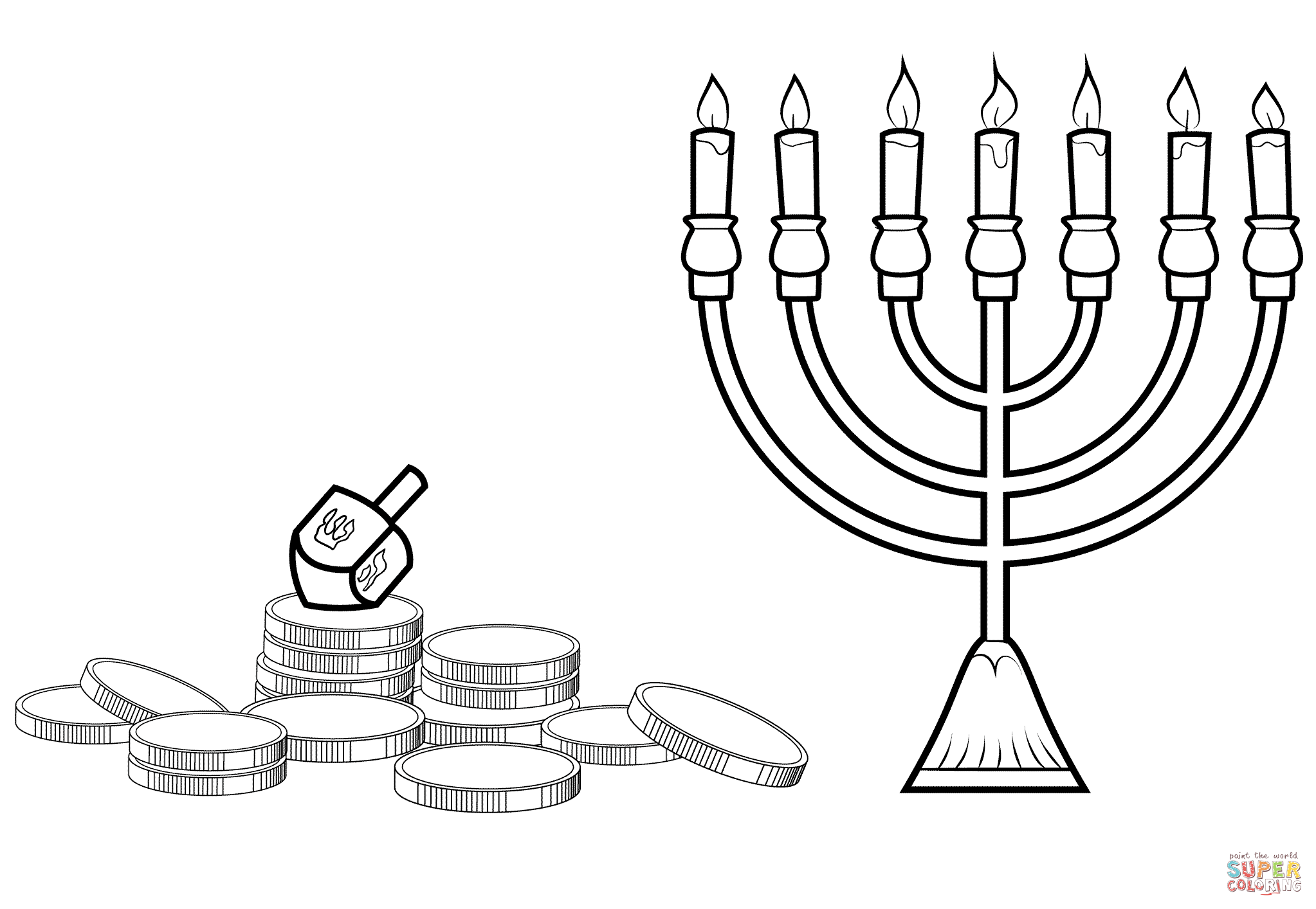 Hanukkah Menorah Dreidel And Gelt Coloring Page