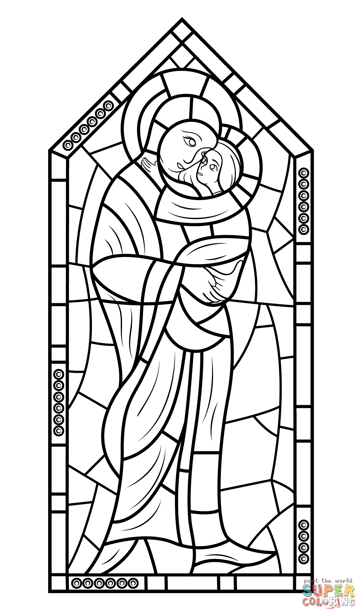 Mother Mary With Jesus Stained Glass Coloring Page