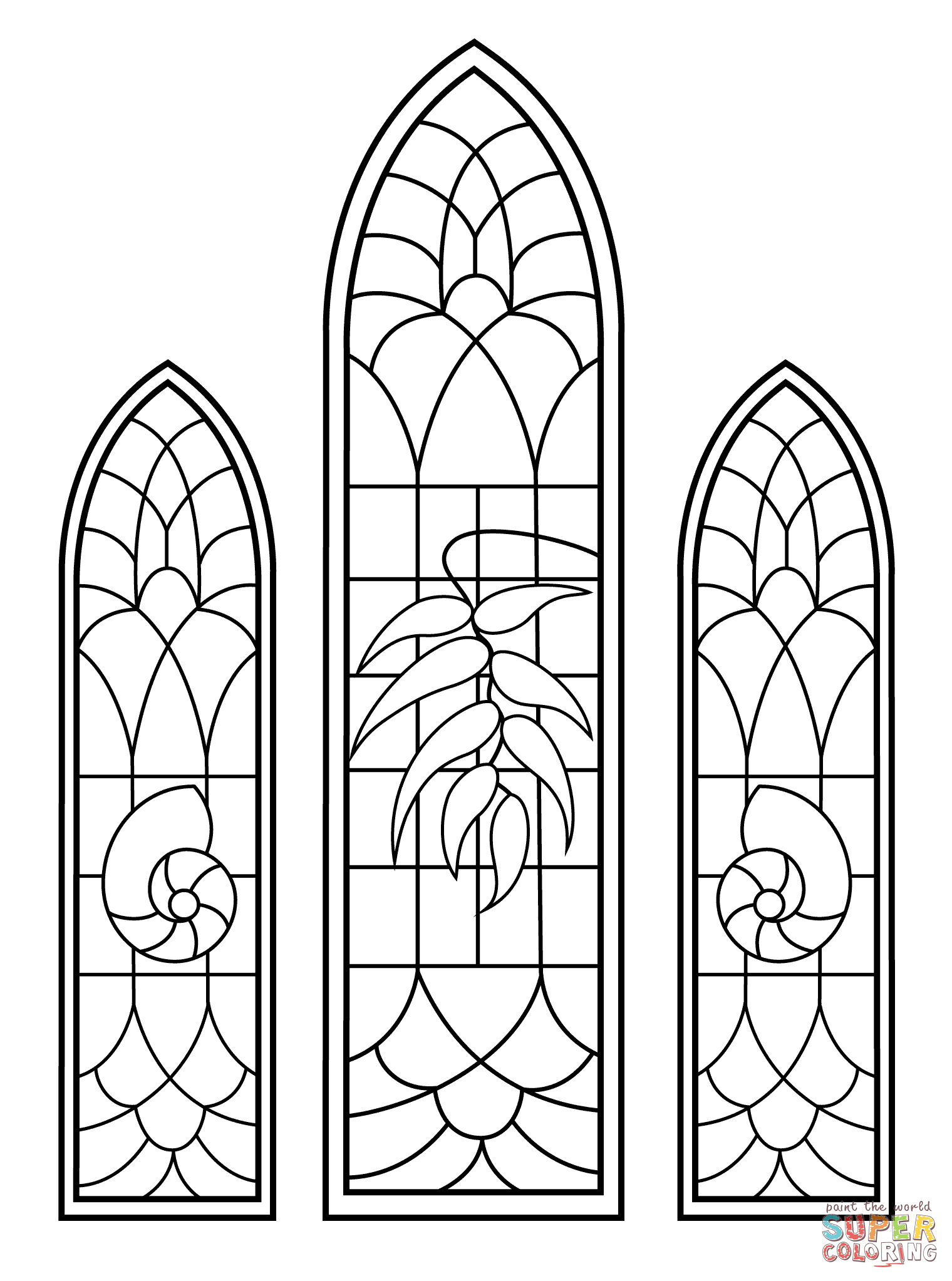 Stained Glass Windows from Wedding Chapel coloring page
