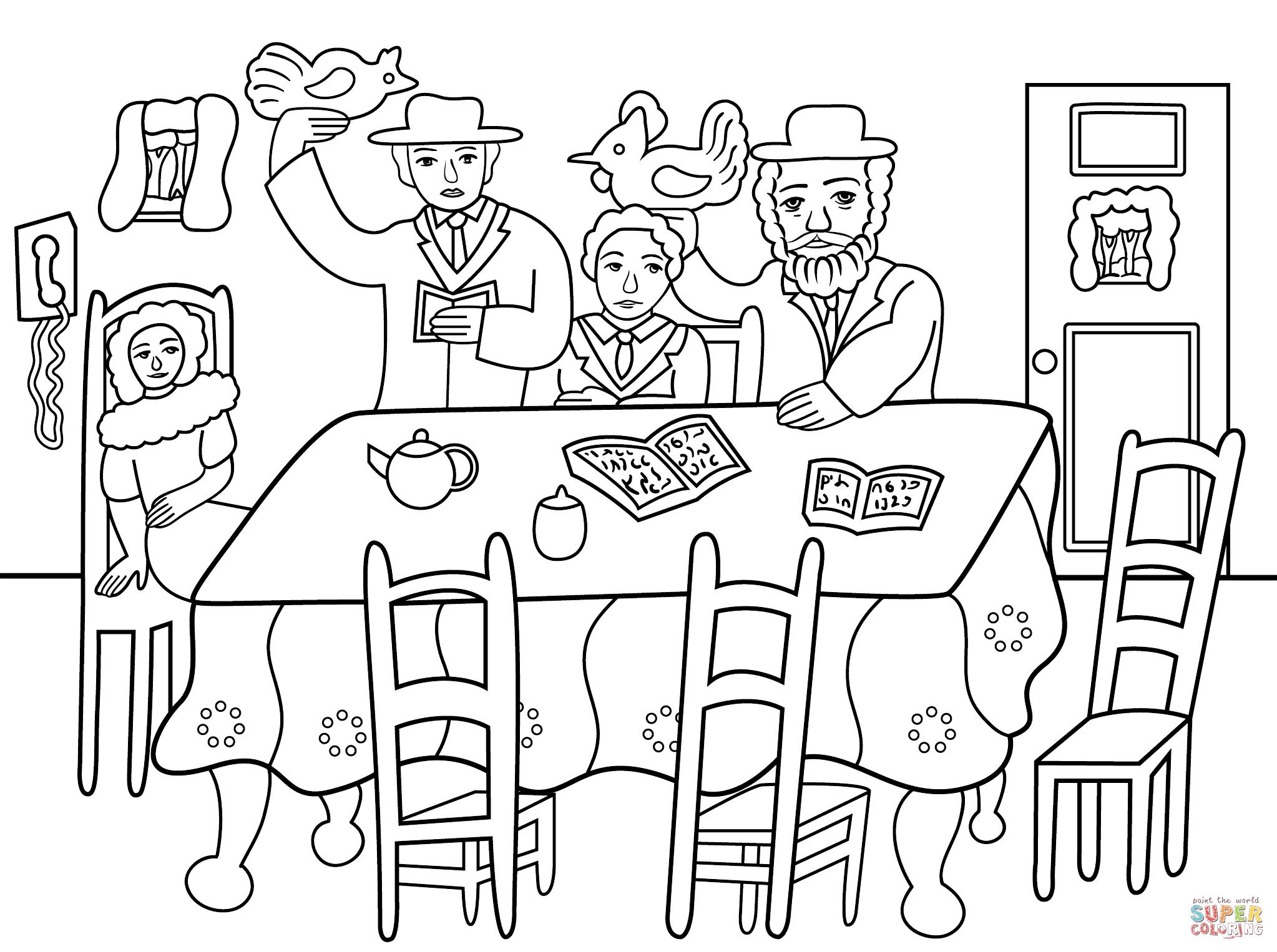Yom Kippur Kaparot Ceremony Coloring Page