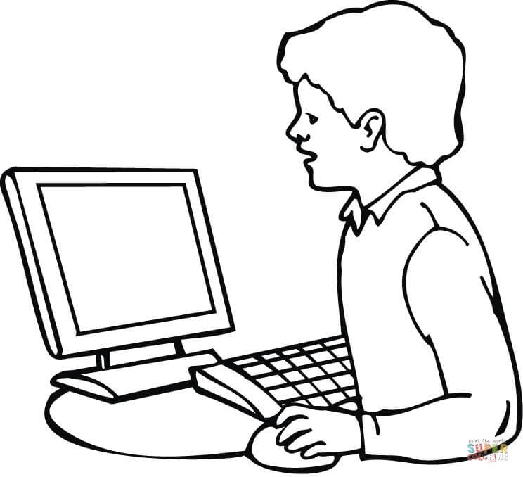 A Boy Searching for Information on the Internet coloring