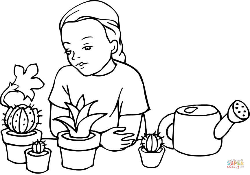 A Girl Learning About Plants and Cacti coloring page