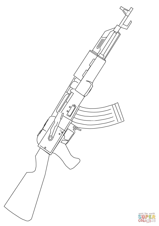 Coloriage Fusil Dassaut AK 47 Coloriages Imprimer