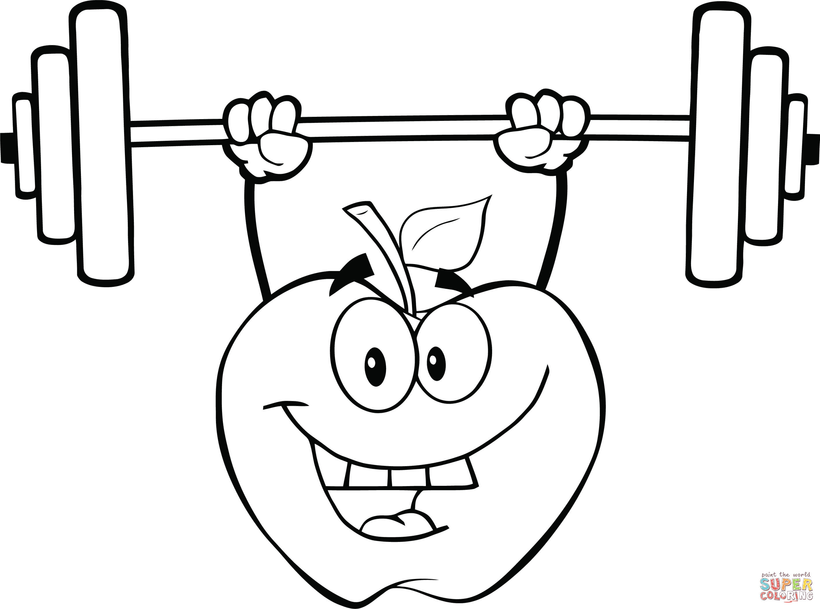 Apple Cartoon Character Lifting Weights coloring page