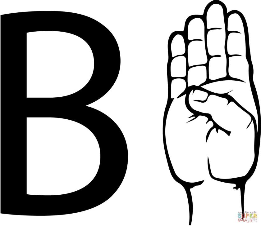 asl sign language letter b coloring page  free printable
