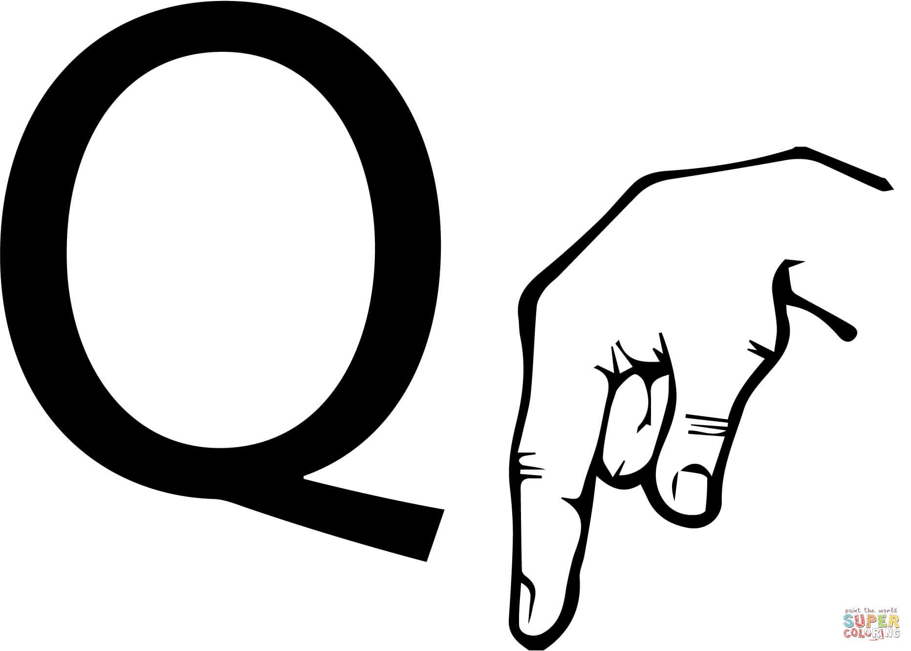 Disegno Di Linguaggio Dei Segni Asl Lettera Q Da Colorare