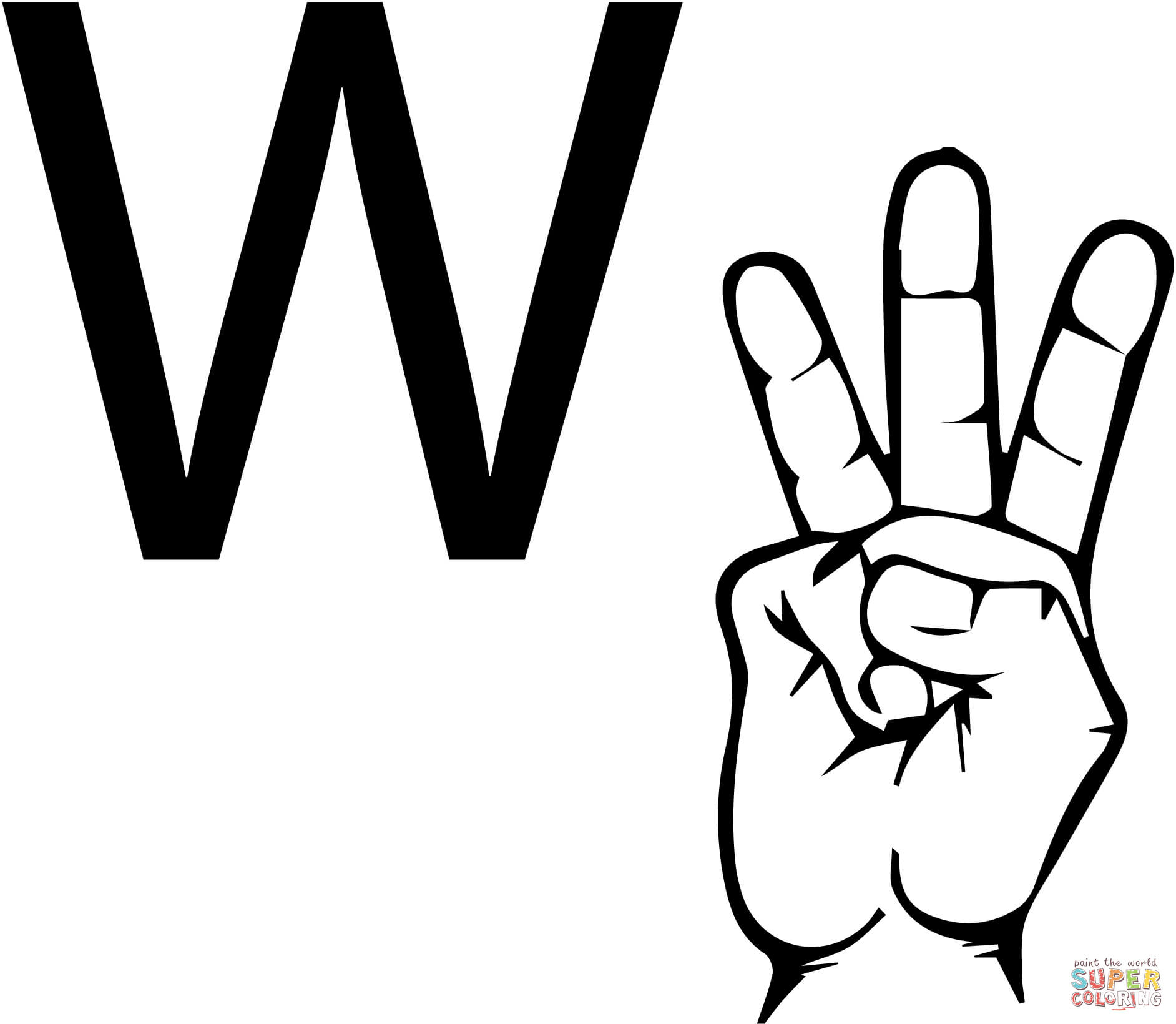 Asl Sign Language Letter W Coloring Page