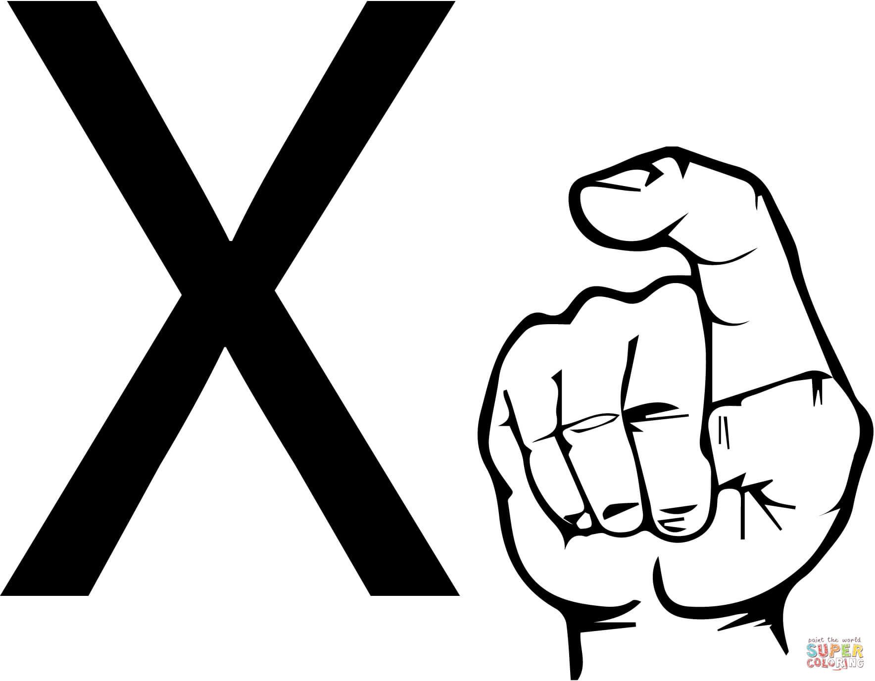 Dibujo De Lengua De Signos Letra X Para Colorear
