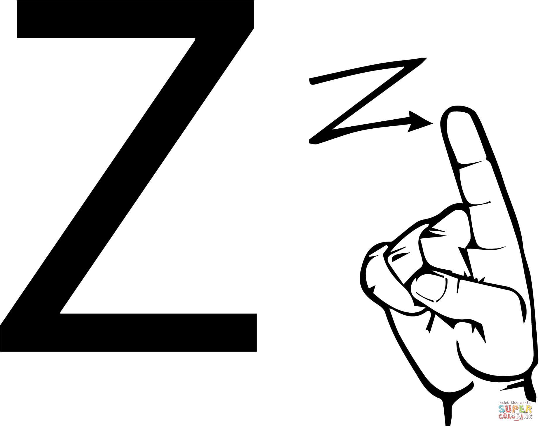Asl Sign Language Letter Z Coloring Page