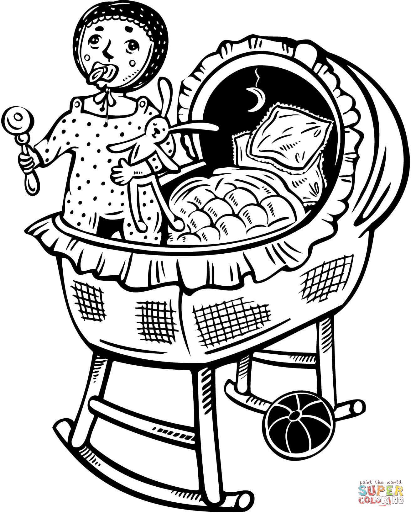 Baby In Bed Coloring Page