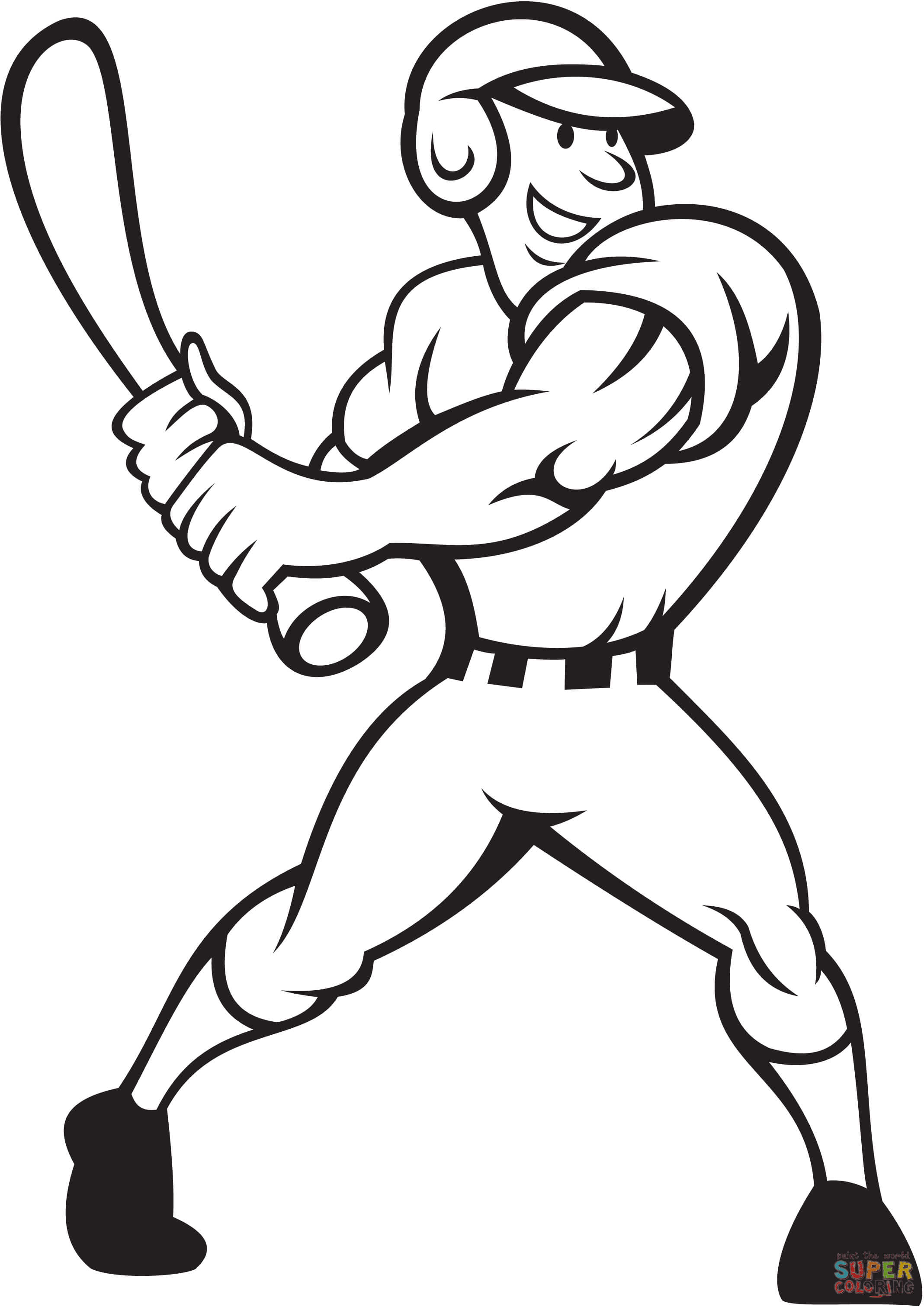 Baseball Player Batting Side Coloring Page
