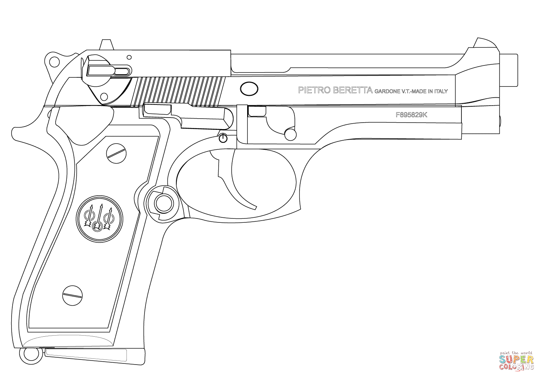 Beretta Pistol Coloring Page