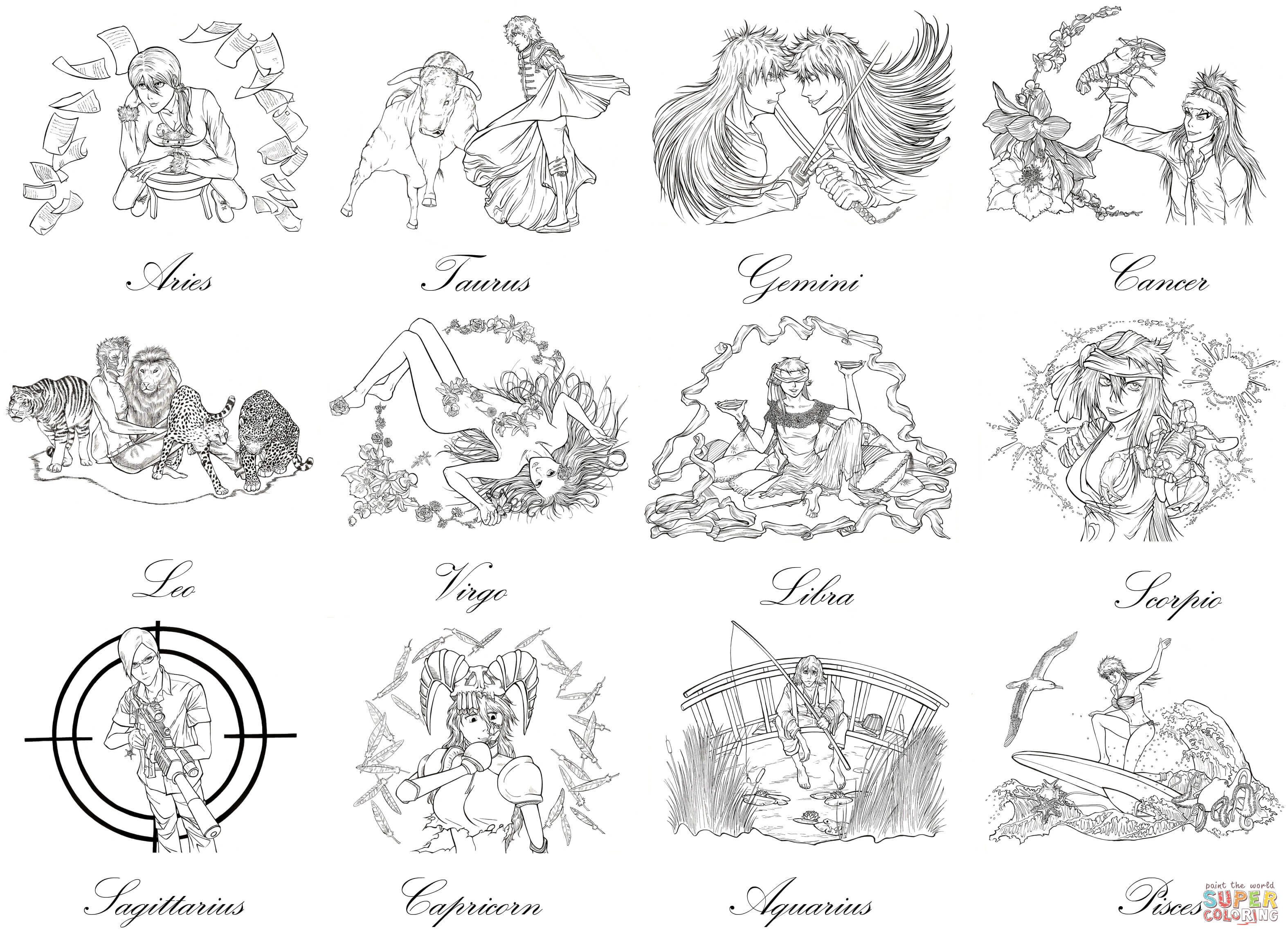 Bleach Zodiac Signs By Marvolo San Coloring Page