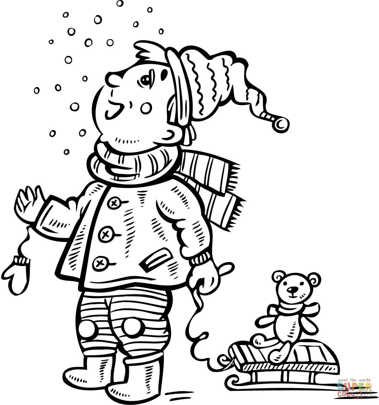 Boy Watching Snow Coloring Page
