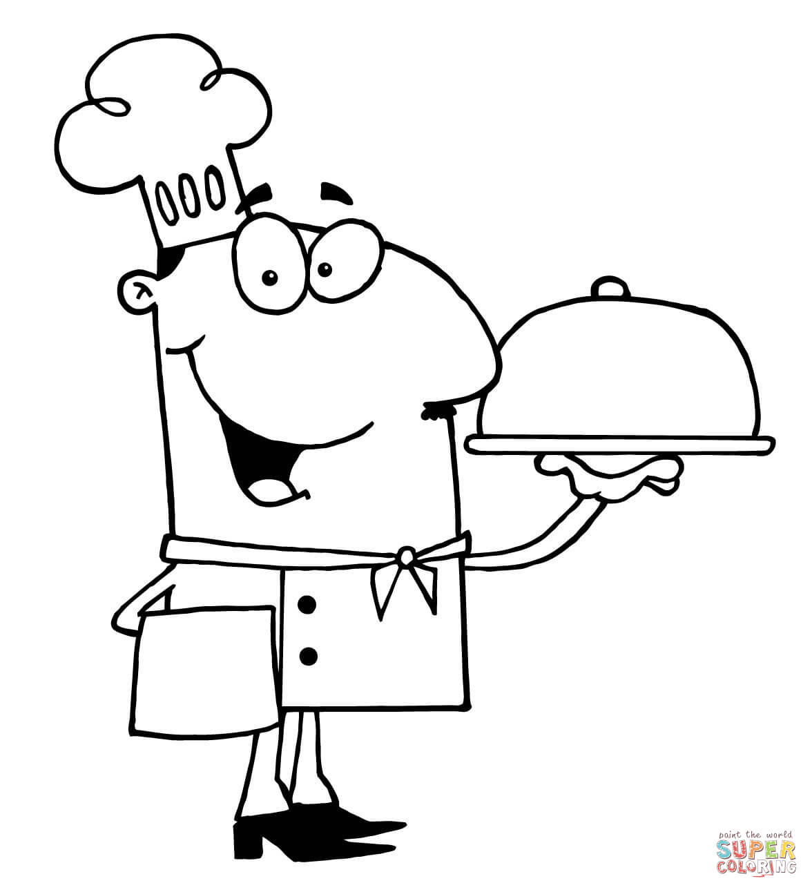 Chef Serving Dinner Coloring Page
