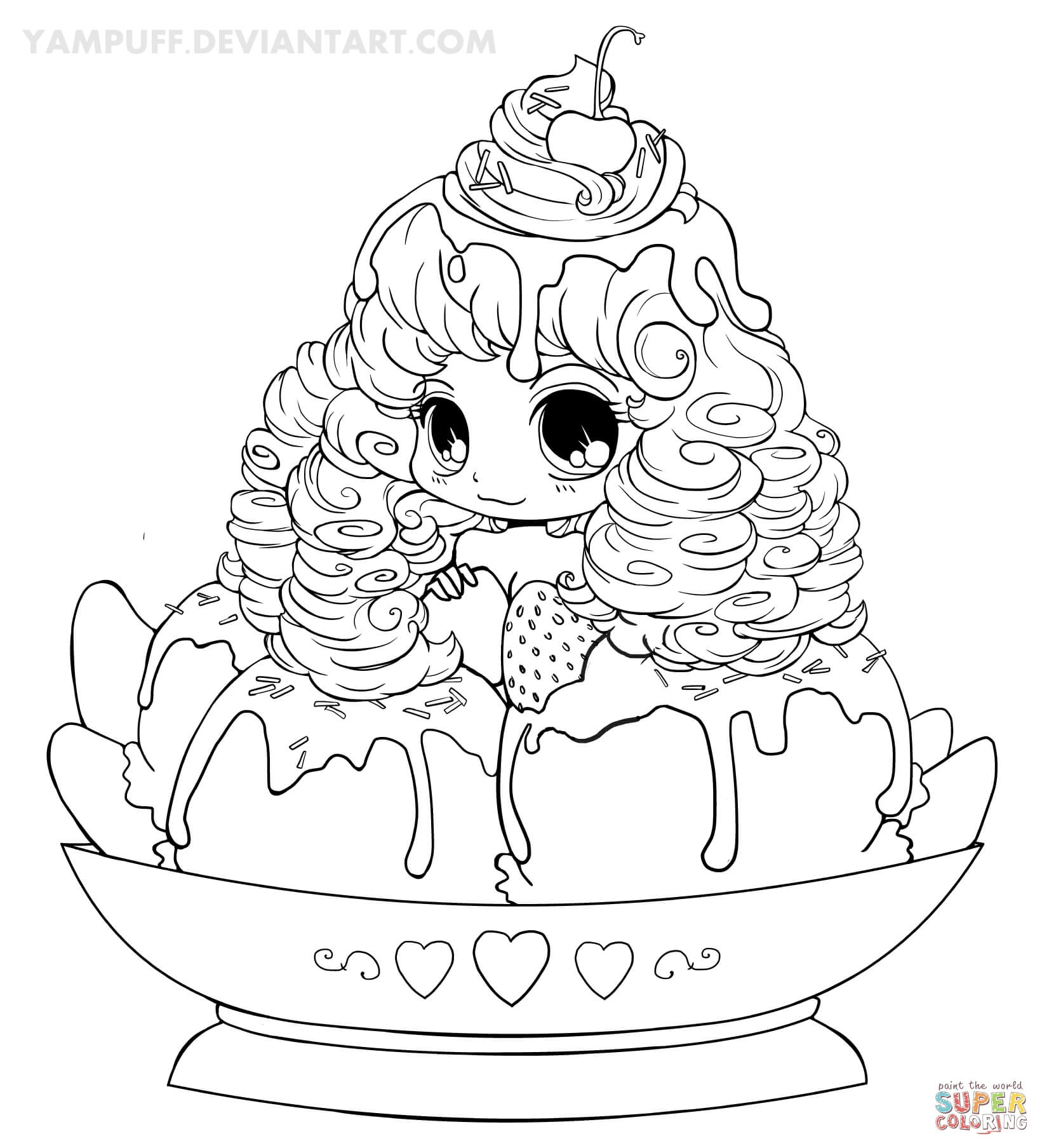 Chibi Popcorn Girl Coloring Page Free Printable Coloring Pages