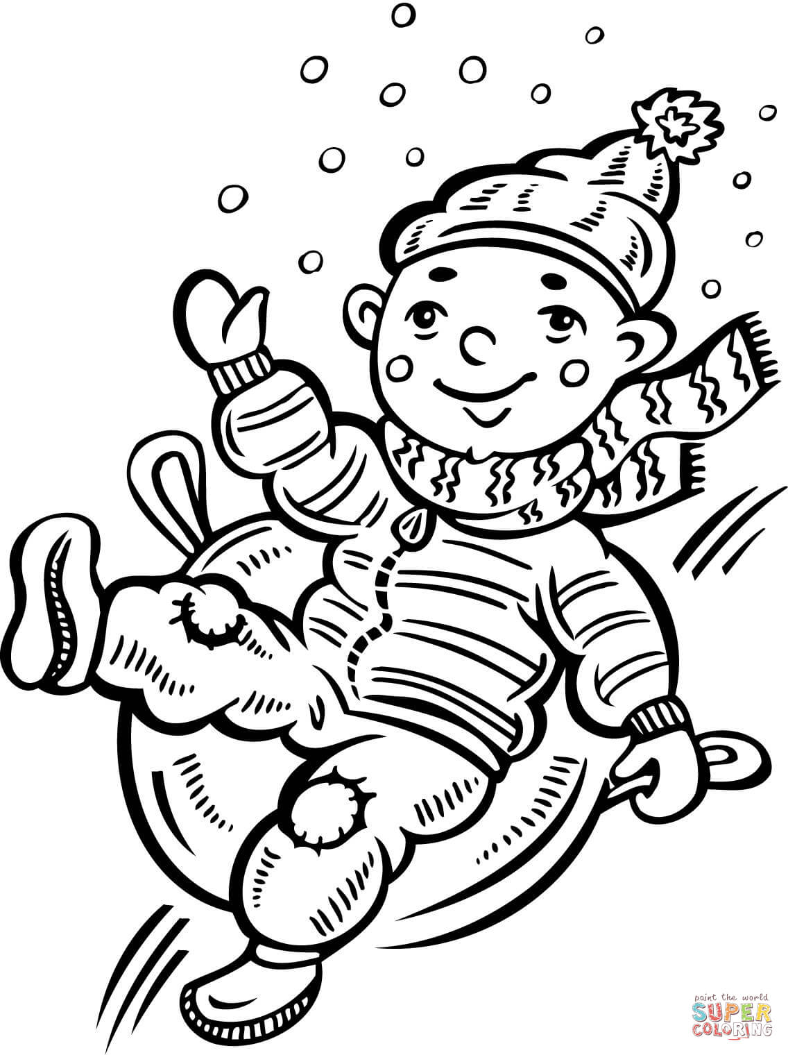 Child Sliding Down A Snow Covered Hill Coloring Page
