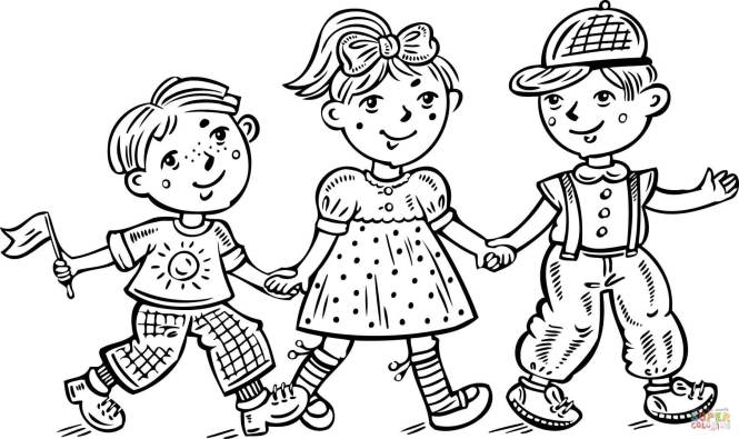 Click The Children Boys And A Girl Celebrating Coloring Pages