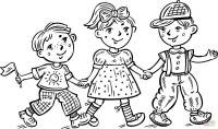 Children Boys and a Girl Celebrating coloring page | Free ...