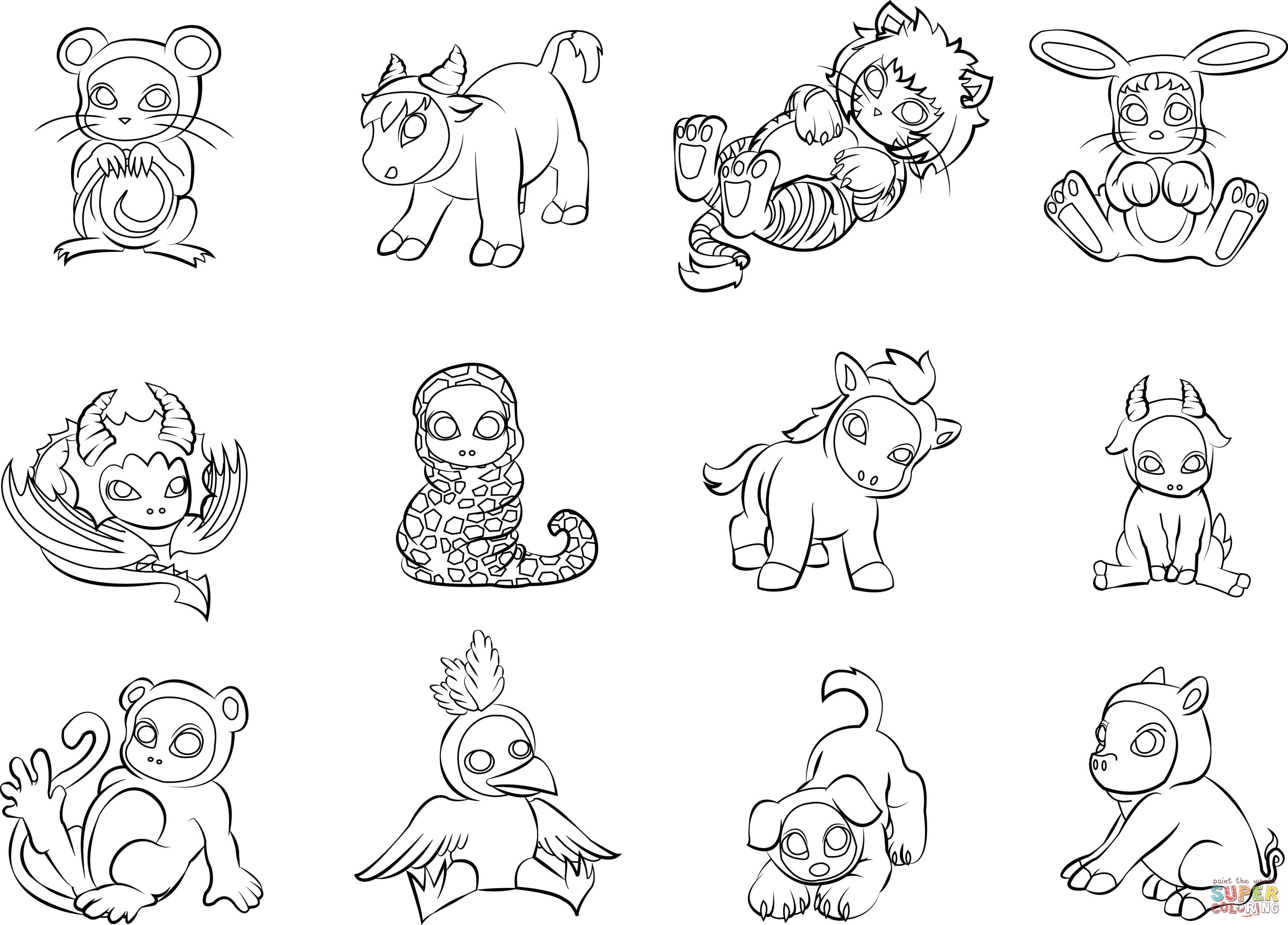 12 Chinese Zodiac Animals Coloring Page
