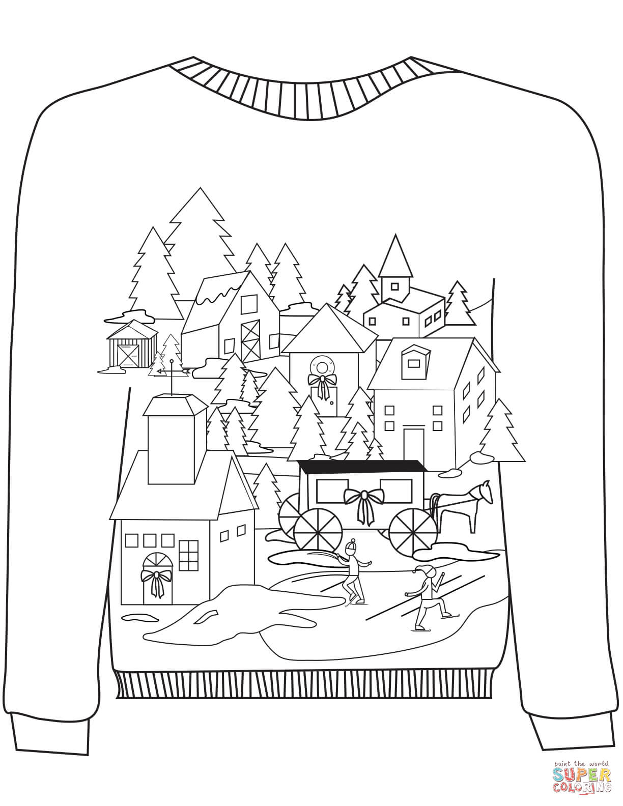 Christmas Ugly Sweater With A Village Motif Coloring Page