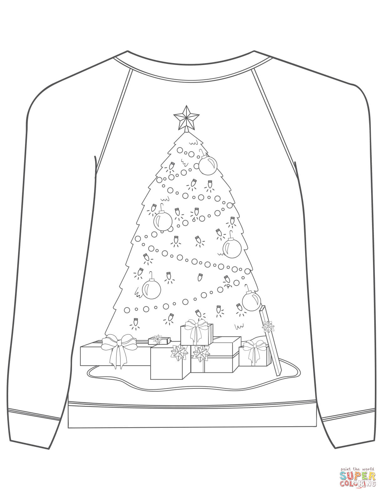 Christmas Ugly Sweater With Christmas Tree Motif Coloring