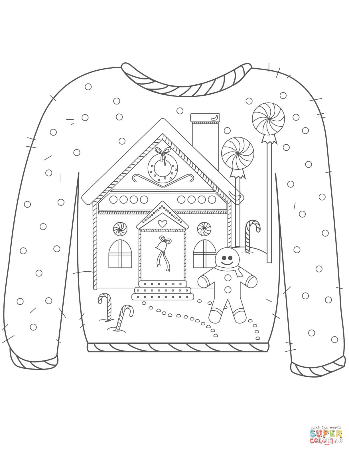 Christmas Ugly Sweater With Gingerbread Man Motif Coloring