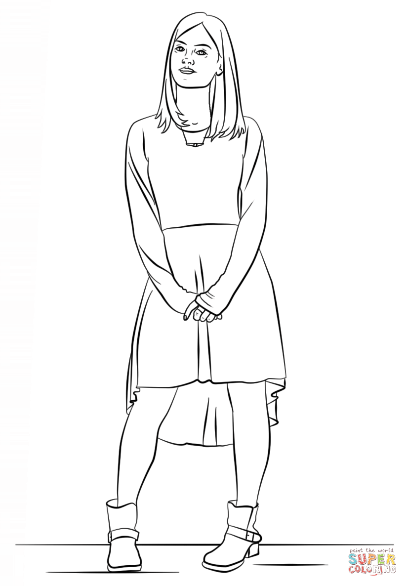 clara oswald from doctor who coloring page  free
