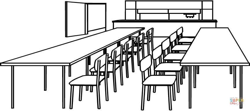 Ausmalbild: Klassenzimmer mit Tischen und Stühlen