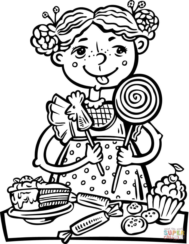 Ausmalbild: Mädchen das eine Menge Süßigkeiten ißt