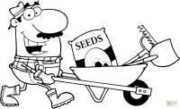 Coloriage - Jardinier heureux pousse une brouette avec ...