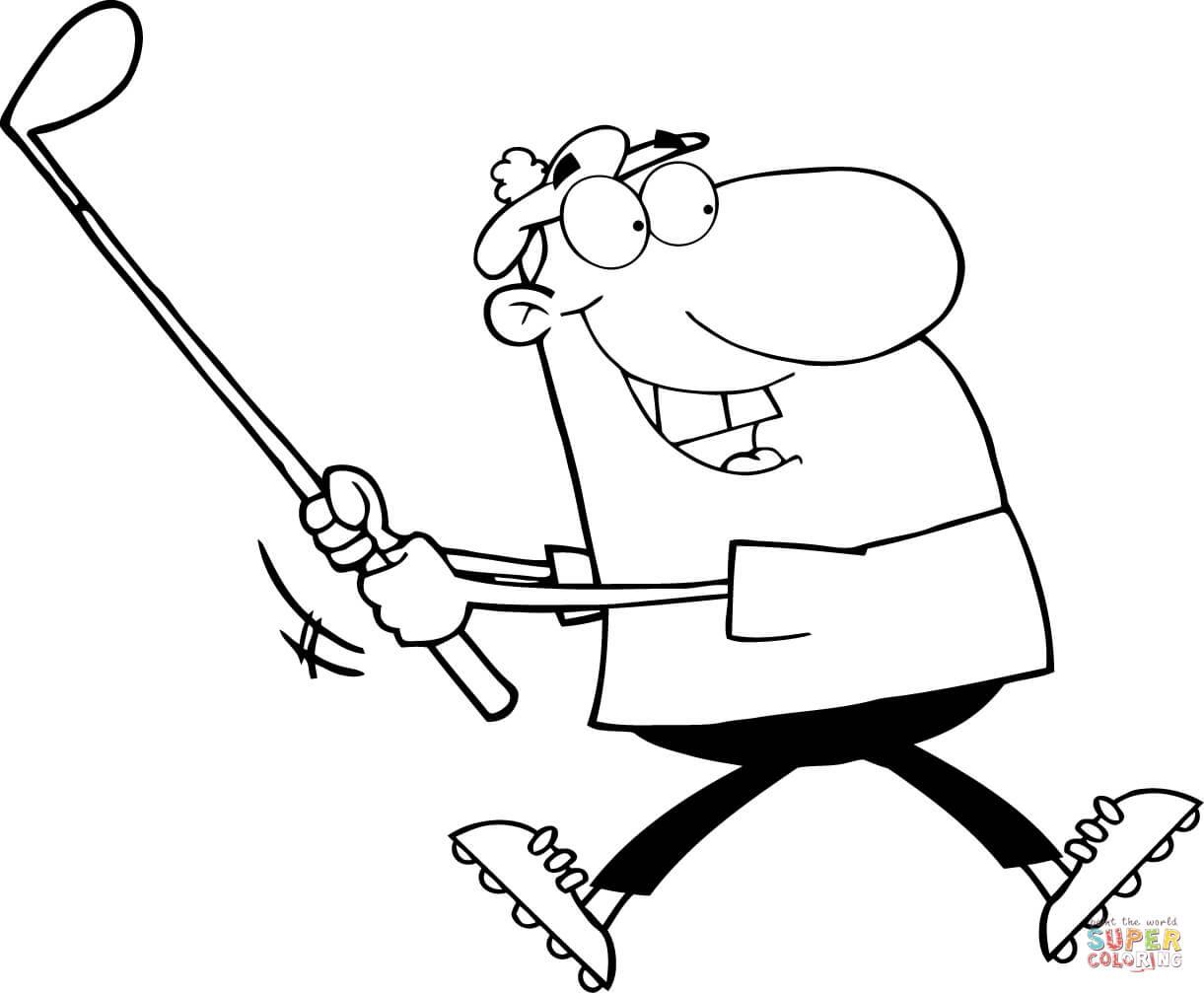 Ausmalbild Glucklicher Golfspieler