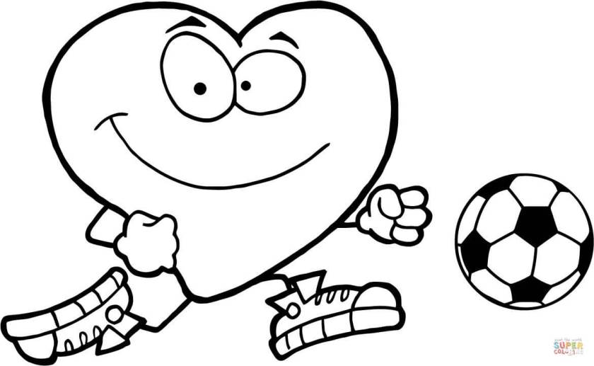 healthy red heart  a soccer ball coloring page  free