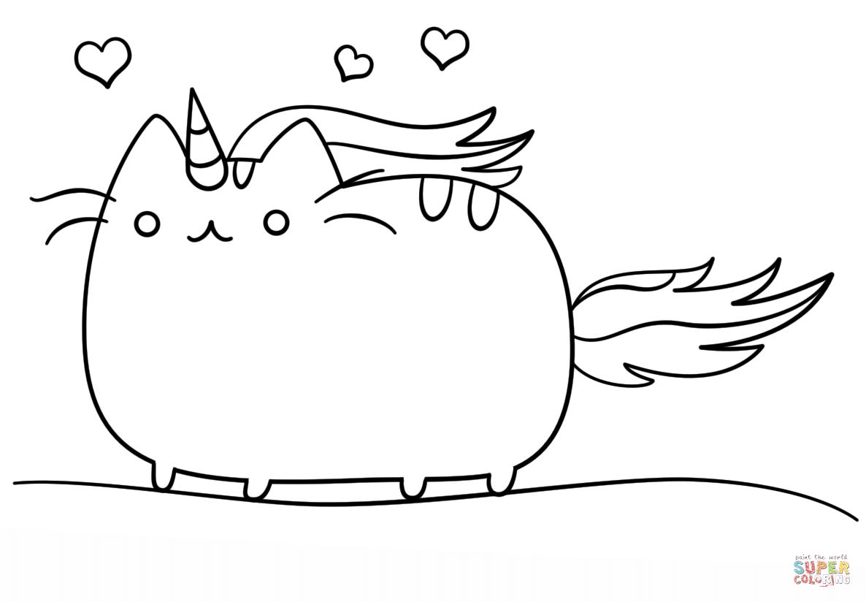 Ausmalbild Kawaii Katzen-Einhorn Ausmalbilder kostenlos