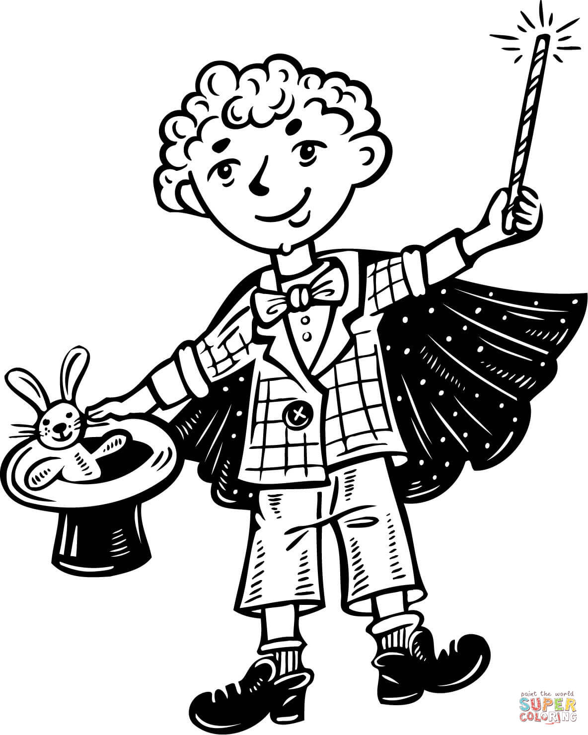 Kid Magician Coloring Page
