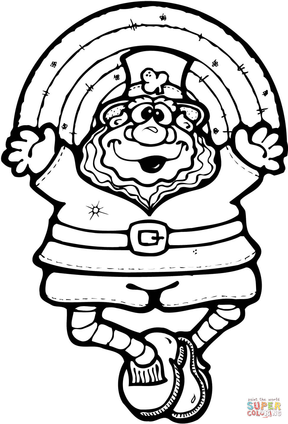 Leprechaun Doll With A Rainbow Coloring Page Free Printable